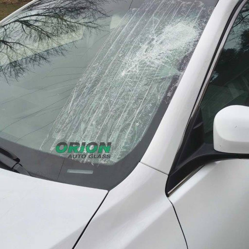 broken windshield before replacement