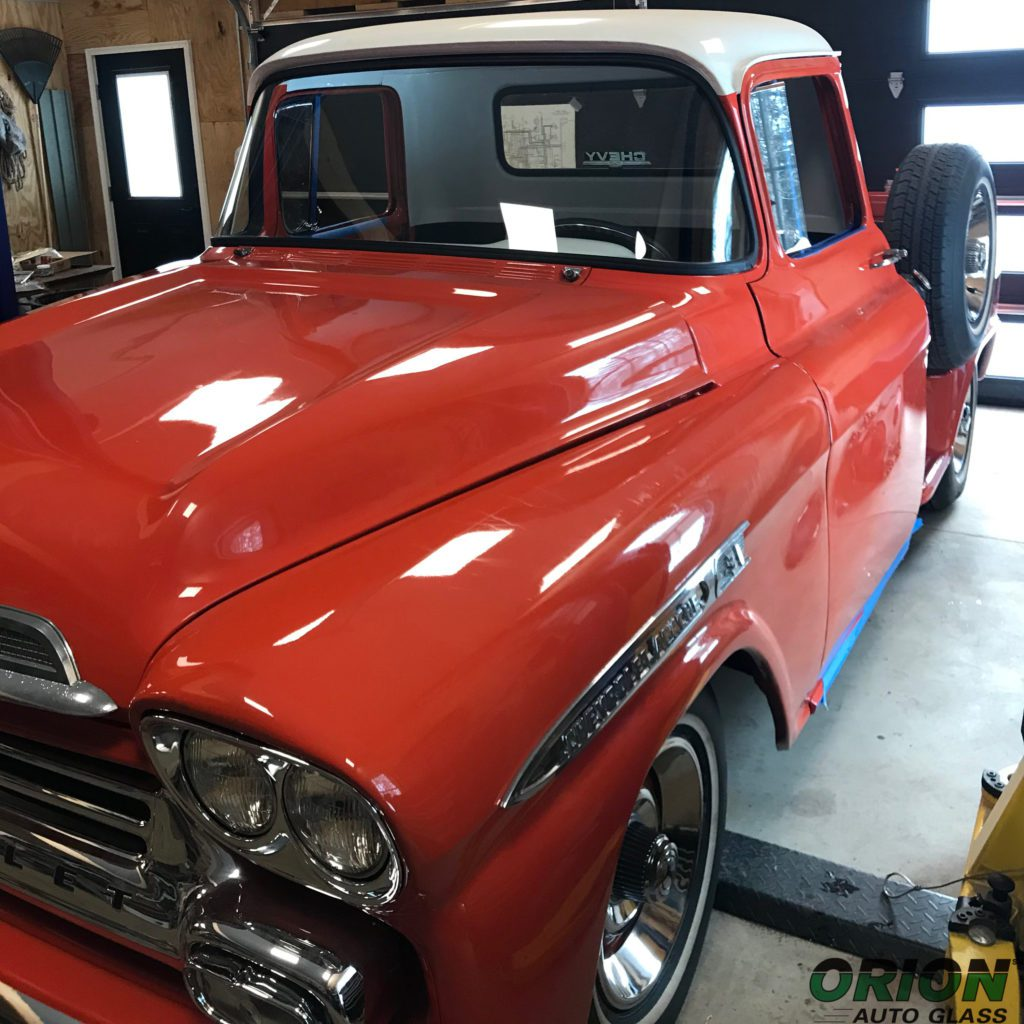 vintage red truck windshield replacement