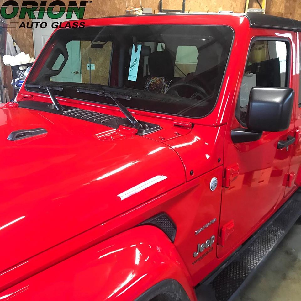Red Jeep, windshield replacement
