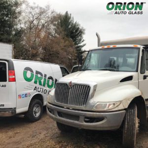 Commercial truck, white semi truck, windshield replacement