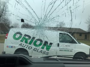 smashed windshield, van