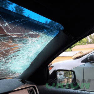 smashed windshield, car interior