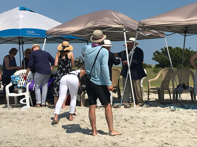 Shelters for wedding party on Wrightsville Beach