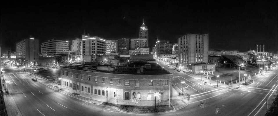 Black and White Photo of Downtown Lansing