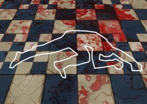 crime scene with blood stain