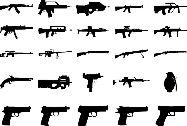 A collection of different types of hand guns and rifles, represented as black silhouettes on a white background