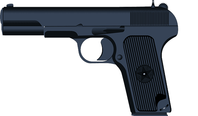 A close up image of a handgun, which is used in shootings and gun-related murders.
