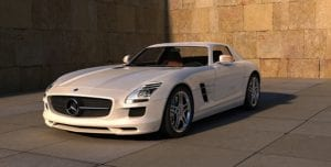 Picture of a white Mercedes Benz