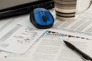 Tax papers on desk
