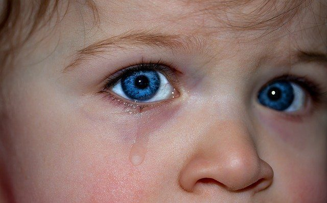 A close up of a small child's eyes that is crying.