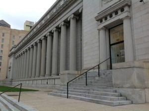 The front steps of a court house