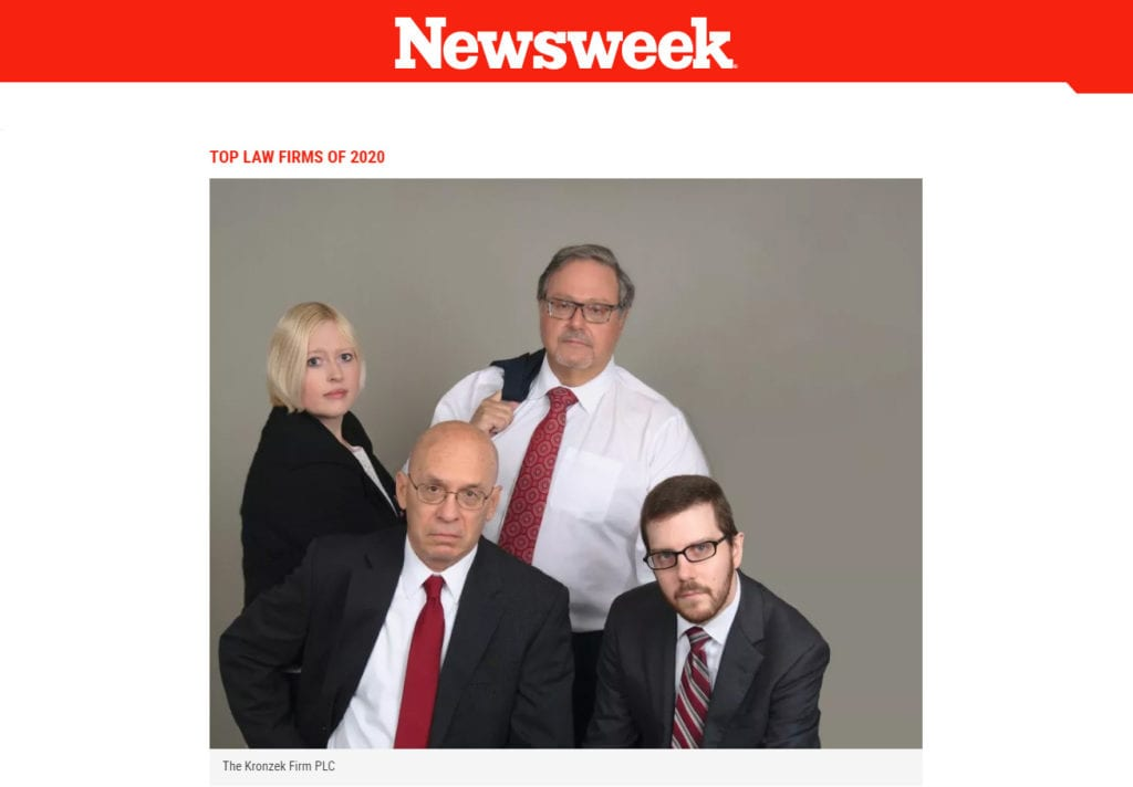 Newsweek Top Law Firms for 2020- The Kronzek Firm